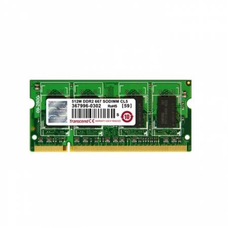 Transcend 512MB 200pin SO-DIMM DDR2 PC667 CL5 Gold Lead