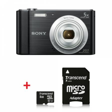 Sony Cyber Shot DSC-W800 black + Transcend 8GB micro SDHC UHS-I Premium (with adapter