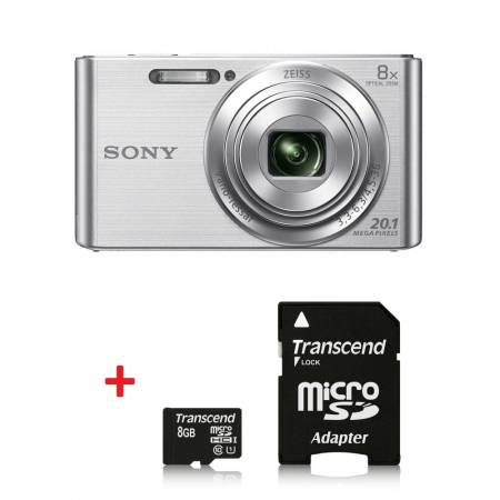 Sony Cyber Shot DSC-W830 silver + Transcend 8GB micro SDHC UHS-I Premium (with adapter