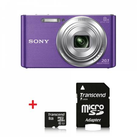 Sony Cyber Shot DSC-W830 violet + Transcend 8GB micro SDHC UHS-I Premium (with adapter