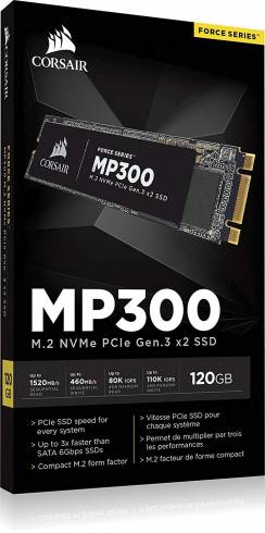 SSD Corsair Force MP300 Series NVMe (PCIe Slot) M.2 2280 SSD 120GB 3D TLC NAND; Up to 1