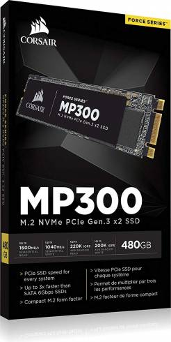 SSD Corsair Force MP300 Series NVMe (PCIe Slot) M.2 2280 SSD 480GB 3D TLC NAND; Up to 1