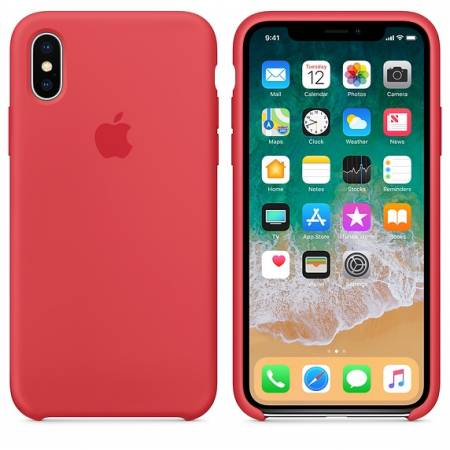 Apple iPhone X Silicone Case - Red Raspberry