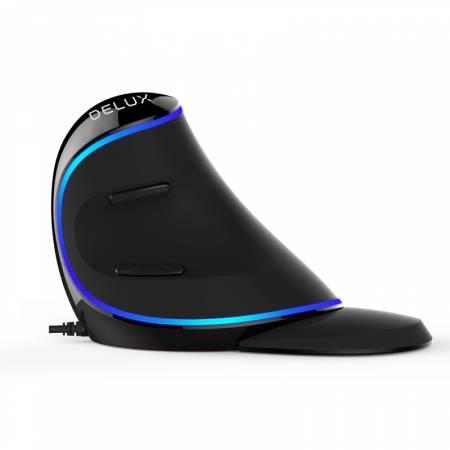Вертикална оптична мишка Delux M618 Plus синя подсветка