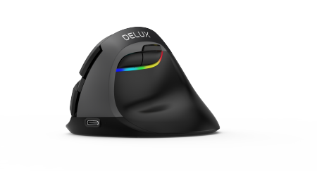 Безжична/Bluetooth вертикална мишка DELUX M618mini jet black