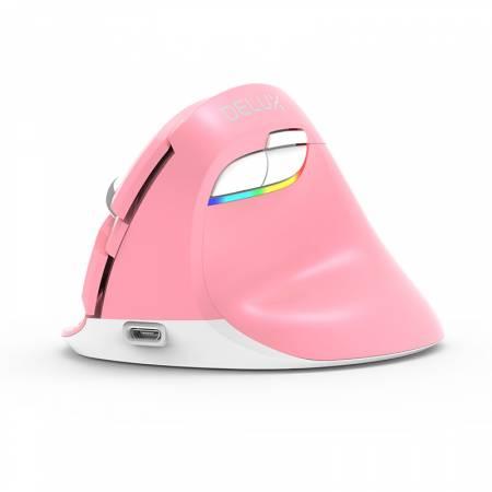 Безжична/Bluetooth вертикална мишка DELUX M618mini розов цвят