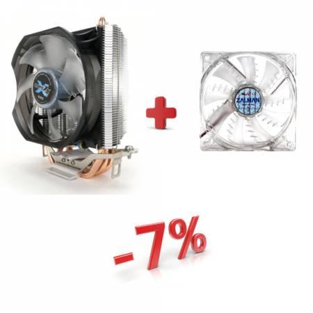 Комплект въздушно охлаждане ZALMAN CNPS7X LED+ ZALMAN ZM-F3 LED SF Син
