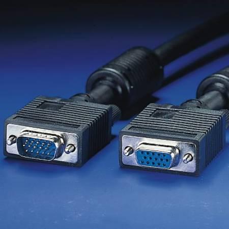 VGA кабел HD15 M/F ROLINE 6.0 м с феритни накрайници 11.04.5356