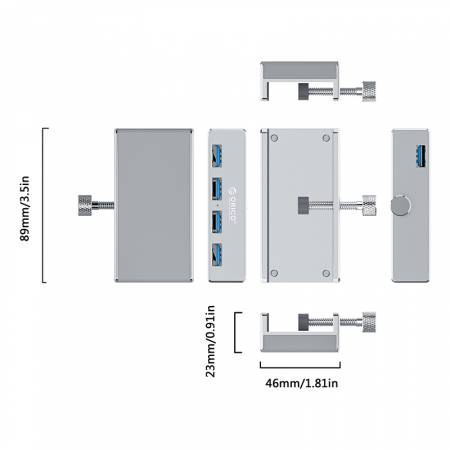 Алуминиев USB 3.0 хъб Orico MH4PU MH4PU-SV-PRO