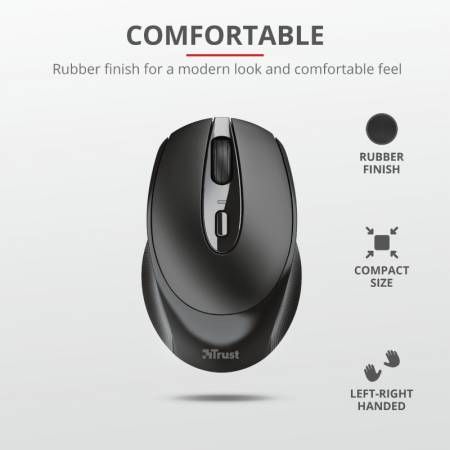 TRUST Zaya Wireless Rechargeable Mouse Black