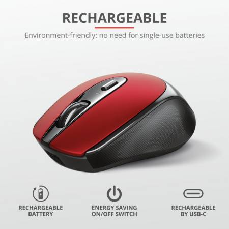 TRUST Zaya Wireless Rechargeable Mouse Red