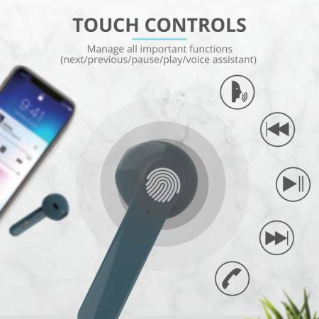 TRUST Primo Touch Bluetooth Earphones Blue