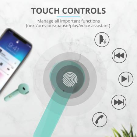 TRUST Primo Touch Bluetooth Earphones Mint