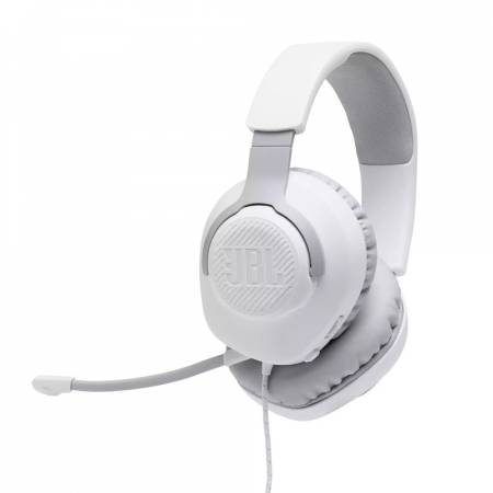 JBL QUANTUM 100 WHT Wired over-ear gaming headset with a detachable mic