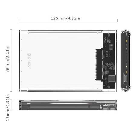 "Прозрачна HDD/SSD кутийка за 2.5"" дискове Orico 2139C3-G2-CR USB 3.1"