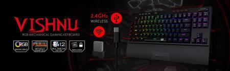 Безжична/кабелна USB механична RGB геймърска клавиатура Redragon Vishnu K596RGB-BK
