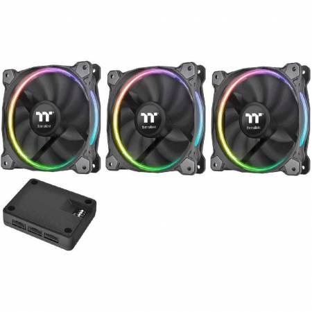 3 бр. RGB охлаждащи вентилатори за компютърна кутия Thermaltake Riing CL-F049-PL12SW-A