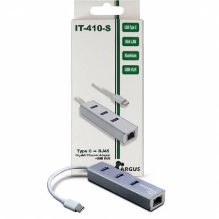 USB Type-C мрежов адаптер с 3 USB 3.0 порта и RJ45 порт Inter-Tech Argus IT-410