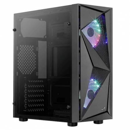 Кутия за настолен компютър Aerocool Glider Cosmo GLIDER-COSMO-G с RGB подсветка и прозрачен страничен панел