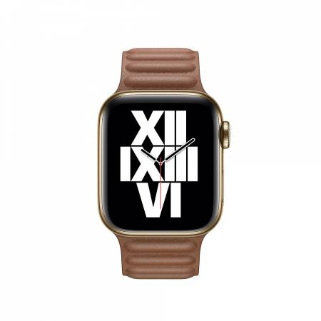 Apple Watch 40mm Band: Saddle Brown Leather Link - Large