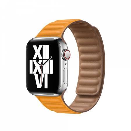 Apple Watch 40mm Band: California Poppy Leather Link - Small (Seasonal Fall 2020)
