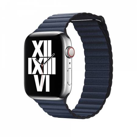 Apple Watch 44mm Band: Diver Blue Leather Loop - Large (Seasonal Fall 2020)