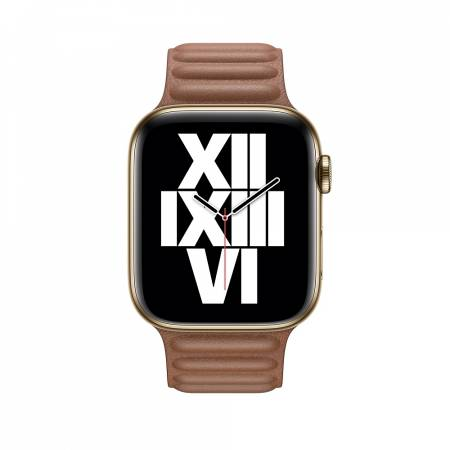 Apple Watch 44mm Band: Saddle Brown Leather Link - Small