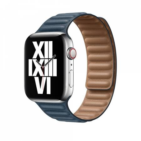 Apple Watch 44mm Band: Baltic Blue Leather Link - Large (Seasonal Fall 2020)