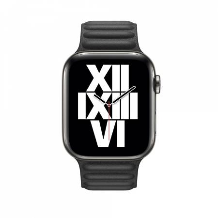 Apple Watch 44mm Band: Black Leather Link - Large