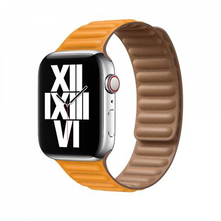 Apple Watch 44mm Band: California Poppy Leather Link - Small (Seasonal Fall 2020)