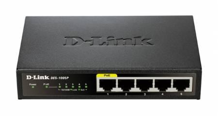 Комутатор D-Link DES-1005P/E 5-Port Fast Ethernet PoE DES-1005P/E