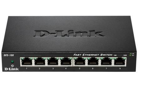 Комутатор D-Link 8-Port  10/100 Fast Ethernet Metal Housing Unmanaged DES-108/E