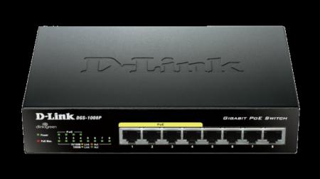 Комутатор D-Link DGS-1008P/E 8-port 10/100/1000 Desktop w/ 4 PoE Ports DGS-1008P/E