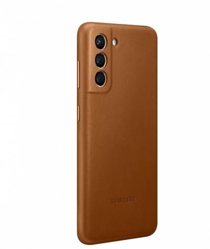 Samsung S21 Leather Cover Brown