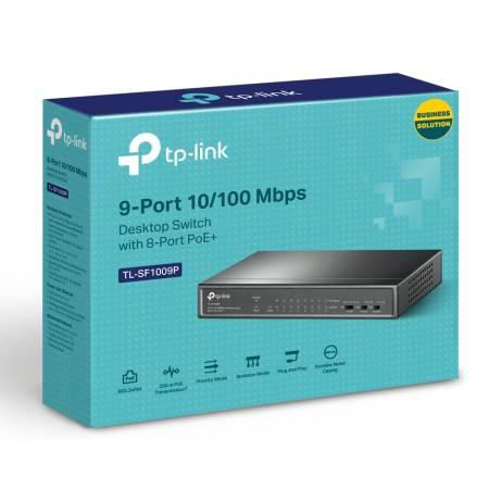 9-портов 10/100Mbps Desktop комутатор TP-Link TL-SF1009P с 8-PoE+ порта