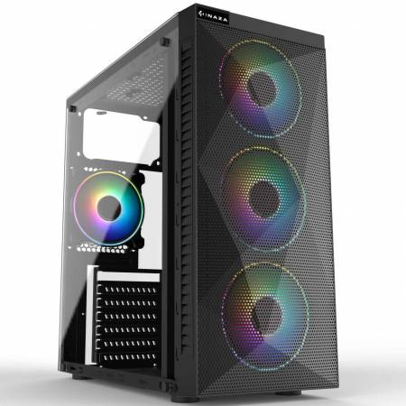 Кутия за настолен компютър Inaza Stealth със страничен панел от плексиглас ATX mid tower
