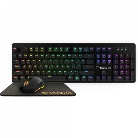 RGB геймърски комплект клавиатура+мишка+подложка за мишка Gamdias Hermes P1B