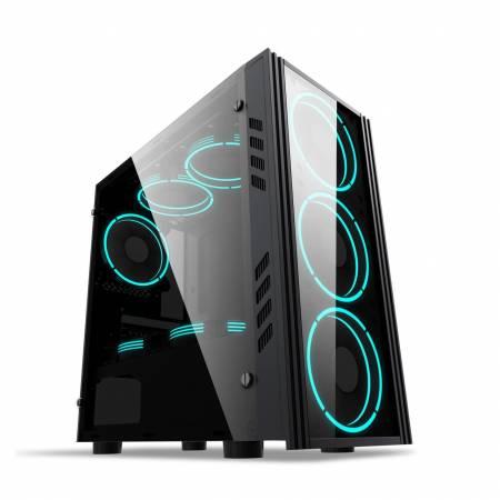 Кутия за настолен компютър Inaza Black Ship BLACKS01-BK с прозрачен панел