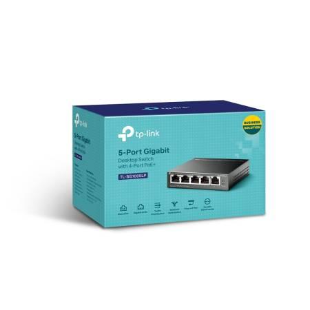 5-портов Gigabit комутатор TP-Link TL-SG1005LP с 4 PoE+ порта