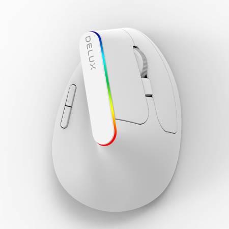 RGB безжична вертикална мишка Delux M618C бяла