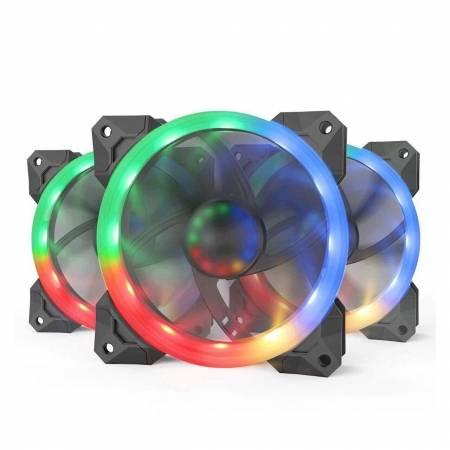 3 бр. aRGB охлаждащи вентилатори за компютърна кутия Redragon F008 GC-F008-BK
