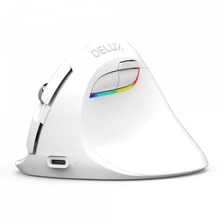 Безжична/Bluetooth вертикална мишка Delux M618mini бял цвят