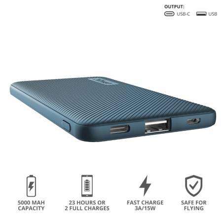TRUST Primo Fast Ultra-thin Powerbank 5000 mAh Blue