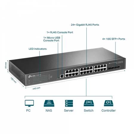 24-портов гигабит L2 управляем комутатор TP-Link JetStream TL-SG3428X с 4-SFP+ слота