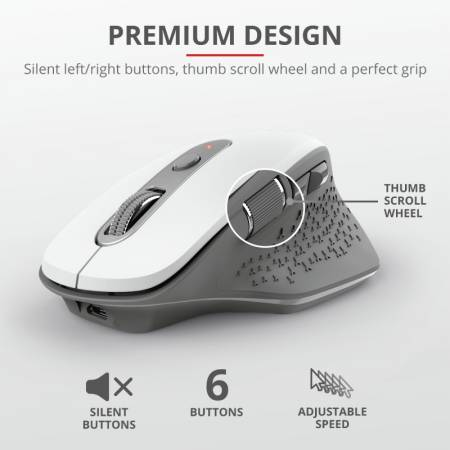 TRUST Ozaa Wireless Rechargeable Mouse White