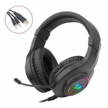 USB RGB LED геймърски слушалки с микрофон Redragon Hylas H260RGB-BK