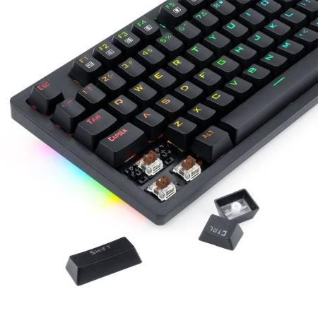 RGB безжична/USB Type-C механична геймърска клавиатура Redragon Knight K598KNS-BK brown switches