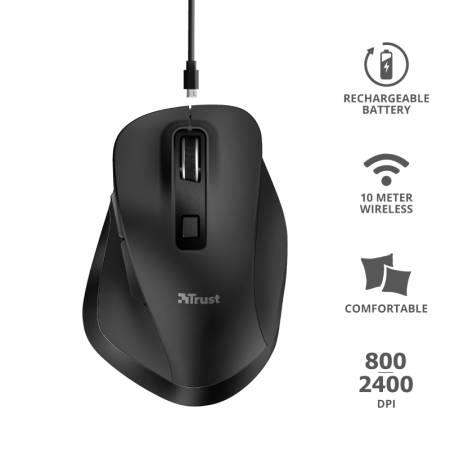 TRUST Fyda Wireless Ergonomic Rechargeable Mouse