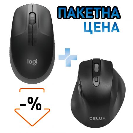 Безжичен комплект мишка Delux DLM-517GX + мишка Logitech M190