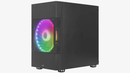 aRGB кутия за настолен компютър AeroCool Atomic ATOMIC-G-BK-V1 със страничен панел от закалено стъкло